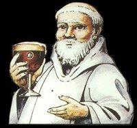 Trappist munk drinking beer